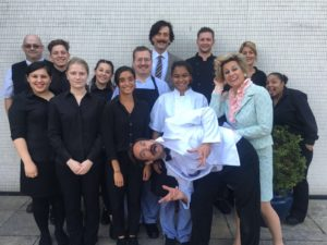 The Faulty Towers cast with the lovely staff at Nottingham Theatre Royal